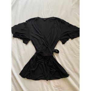 All Saints | Black Short Sleeve Blouse | Tie Front